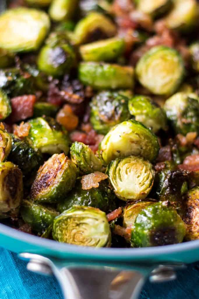 Garlic Brussel Sprouts with Bacon | Garlic Brussel Sprouts with Bacon is the perfect vegetable side dish for any meal and is ideal for serving to family and friends at your holiday table this year.| Pack Momma | https://www.packmomma.com