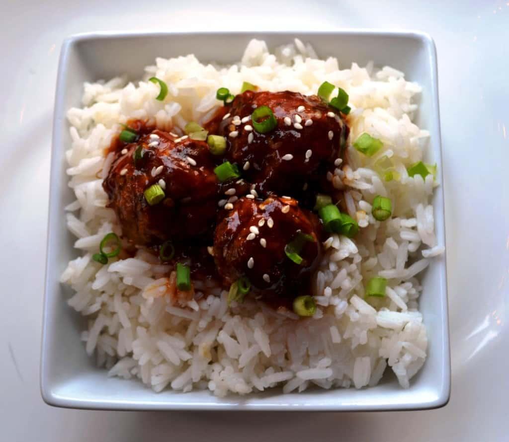 Teriyaki Turkey Meatballs with Rice