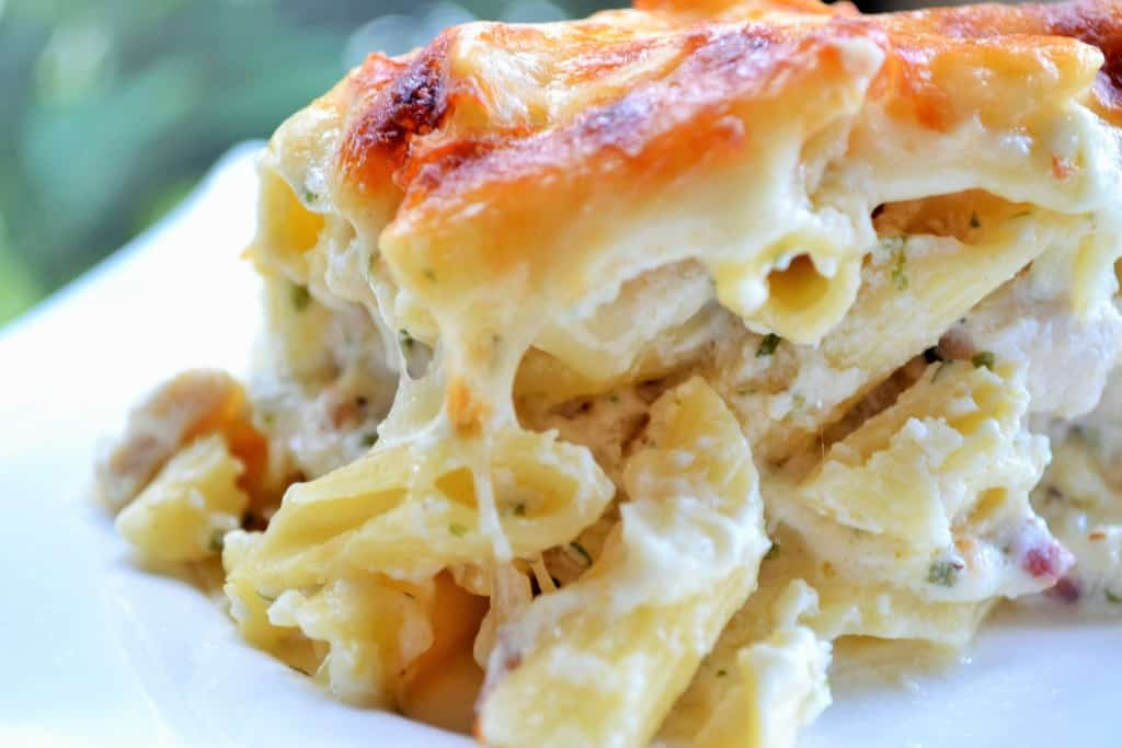 Three Cheese Chicken Alfredo Casserole