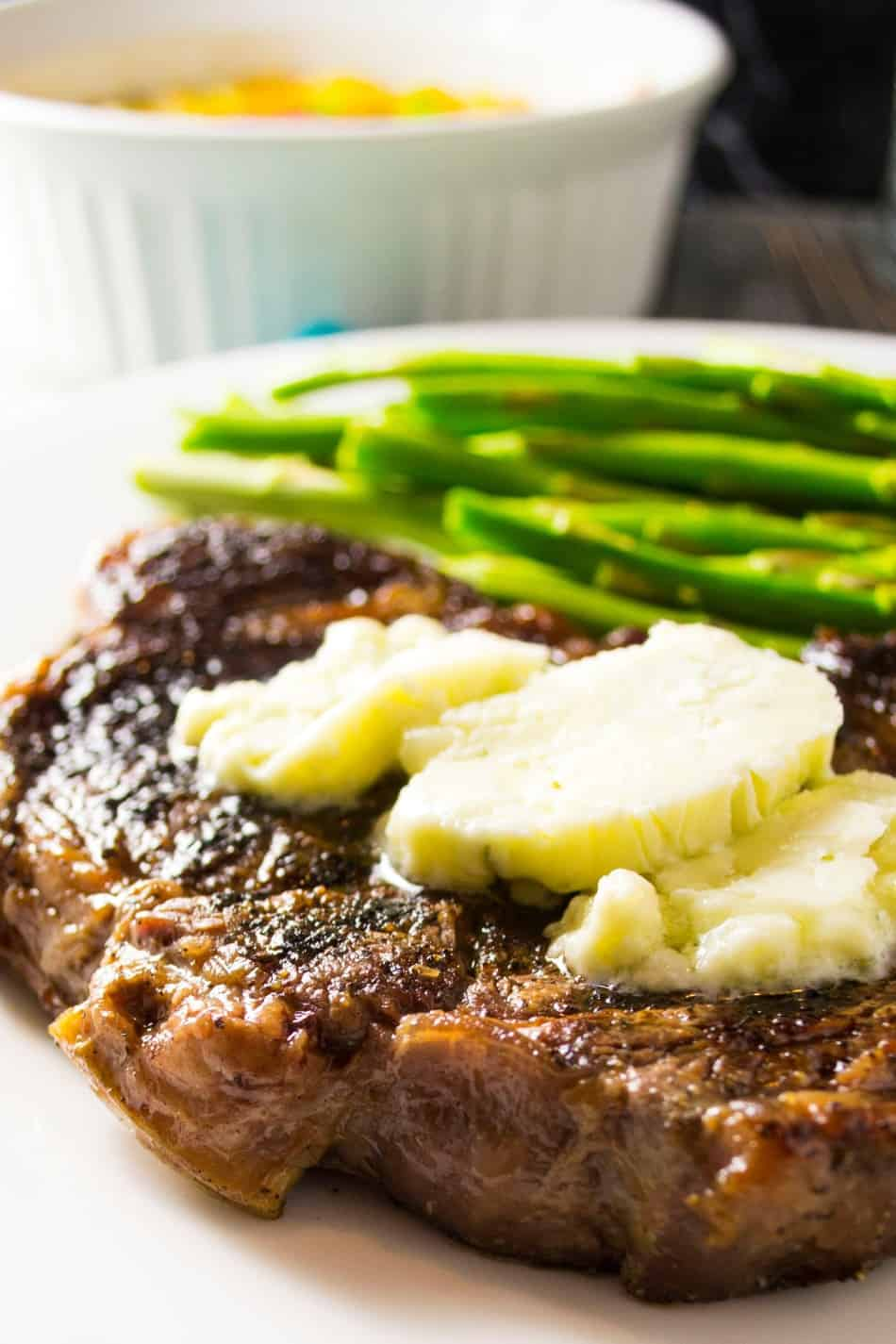 Oven Grilled Steak with Blue Cheese Compound Butter