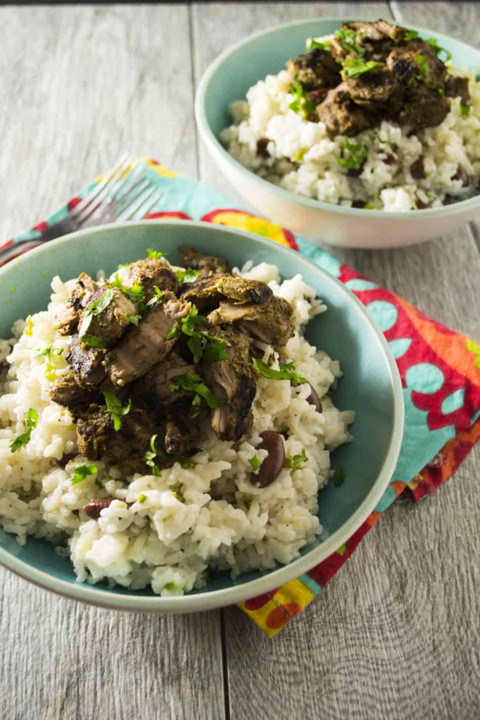 Jamaican Jerk Pork with Rice and Peas