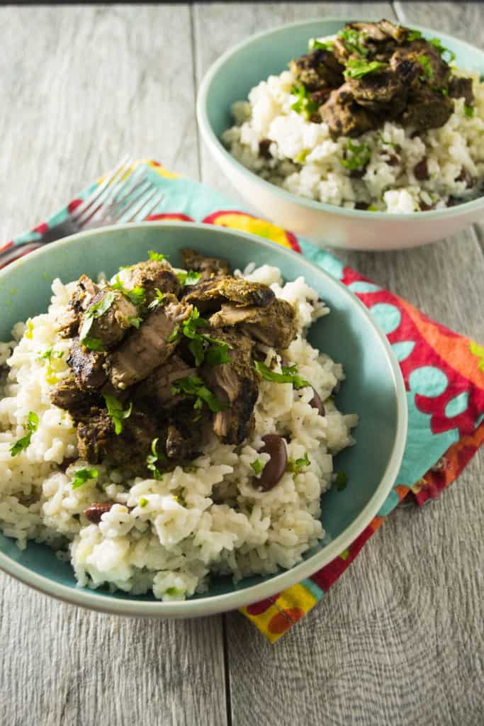 Jerk Pork with Jamaican Rice and Peas   Spice up your week with this easy recipe for Jamaican Jerk Pork with Rice and Peas. One bite and you won't believe you aren't in the Caribbean!!   Pack Momma   https://www.packmomma.com