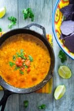 Mexican Queso Fundido | Celebrate Cinco de Mayo (or ANY day) with this Mexican Queso Fundido  .. it's an easy to make oooey, gooey cheesy dip that is a crowd pleaser from the word GO! | Pack Momma | https://www.packmomma.com