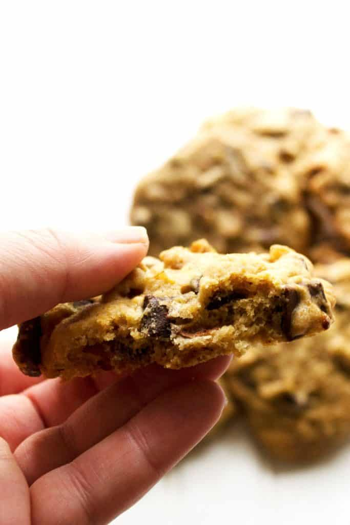 Chunky Monkey Cookies - Chunky Monkey Cookies are ice cream inspired and cookie perfected. Soft baked banana cookies with dark chocolate chunks and tons of walnuts.. Perfection! | Pack Momma | https://ww.packmomma.com