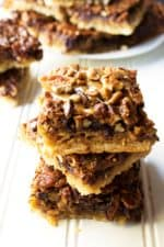 Chocolate Pecan Pie Bars | These Chocolate Pecan Pie Bars are moist and sweet, rich and so super easy to make. A FABULOUS new twist on a classic favorite holiday dessert.| Pack Momma | https://www.packmomma.com