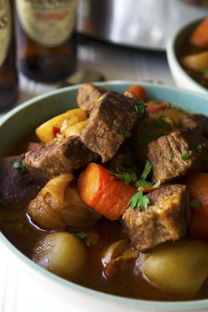 Slow Cooker Guinness Irish Stew | Slow Cooker Guinness Irish Stew is the perfect comfort food to celebrate St. Patrick's Day or any day with family and friends. | Pack Momma | https://www.packmomma.com