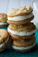 Chocolate Chip Whoopie Pies | Chocolate Chip Whoopie Pies are soft baked chocolate chip cookies sandwiching fluffy buttercream frosting to make the perfect dessert sweet treat. | Pack Momma | https://www.packmomma.com