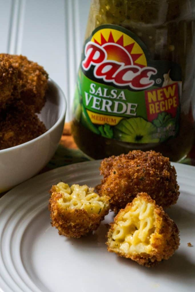 Fried Salsa Verde Macaroni and Cheese Balls | Fried Salsa Verde Macaroni and Cheese Balls are perfect Game Day appetizers with a crispy outside and creamy cheesy southwest mac n cheese on the inside! | Pack Momma | https://www.packmomma.com