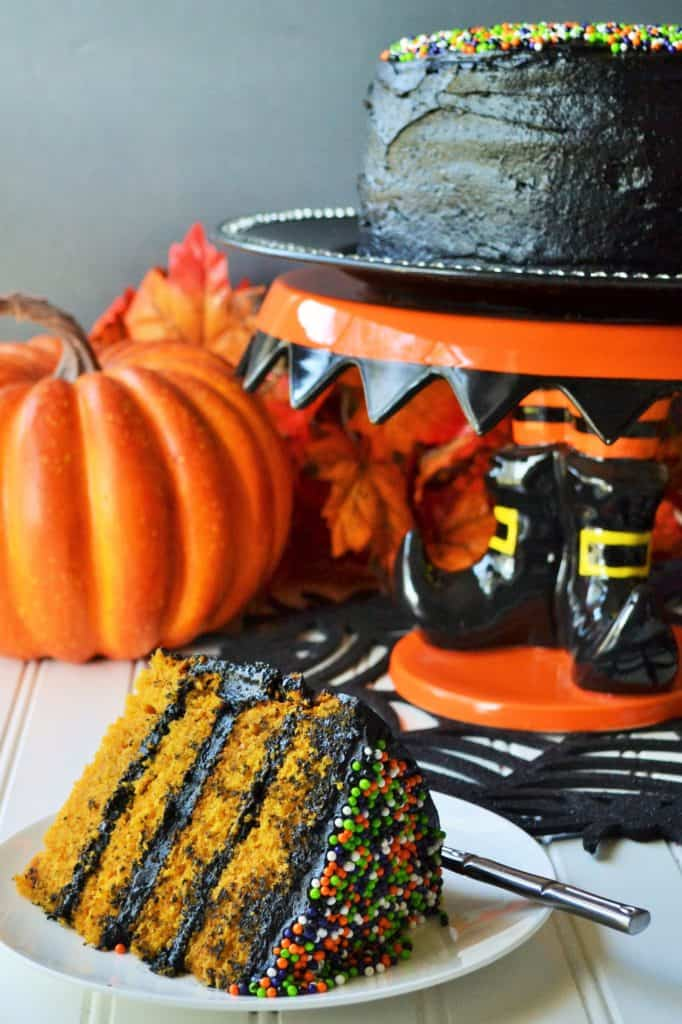 Halloween Pumpkin Cake | Halloween Pumpkin Cake is the moistest and most delicious cake you will make this season! Perfect dessert to satisfy your pumpkin craving this time of year. | Pack Momma | https://www.packmomma.com
