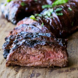 Grilled Flank Steak with Cherry Habanero BBQ Sauce | Grilled Flank Steak with Cherry Habanero BBQ Sauce is a tender steak grilled in a sweet and spicy sauce. Perfect for both busy weeknights and lazy weekends.| Pack Momma | https://www.packmomma.com